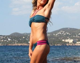 Bandeau Bikini Top, Adjustable Blue Bikini Top, Zig Zag Tie Back, Funky Beachwear, Perfect Fit Bikini Summer Top, Stylish Bikini Top