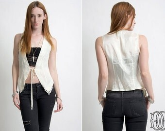 vintage 70s bohemian off white vest with lace edging