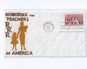 VELVATONE Honoring Teachers of America Postal Stationery First Day Cachet Philadelphia PA 1957