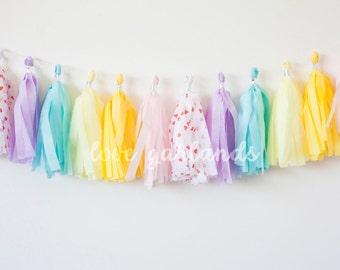 Rainbow Pastel Tassel Garland