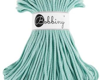 5mm Bobbiny Cotton Cord 108 yards (100 meters) - Mint; macrame cord, chunky yarn, cotton rope