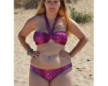 Adele Magenta Pink Snakeskin Bikini Top & Briefs Set