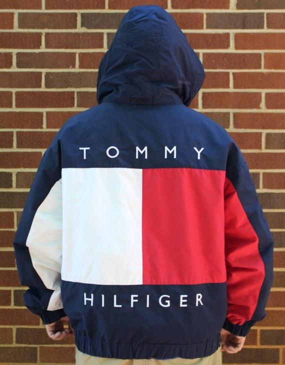 vintage tommy hilfiger mens hooded coat jacket xl flag. Black Bedroom Furniture Sets. Home Design Ideas