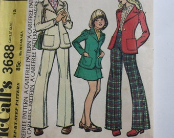 McCalls 3688 UNCUT Pattern for Girls Jacket, Skirt and Pants
