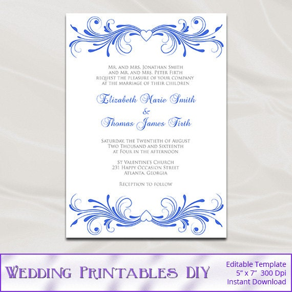 Royal Blue Wedding Invitations Template by ...