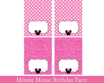 Minnie Mouse food Tent Cards, Minnie Mouse printable, Foldable Food Cards Printable, Food Labels, buffet cards, place cards, food tent card