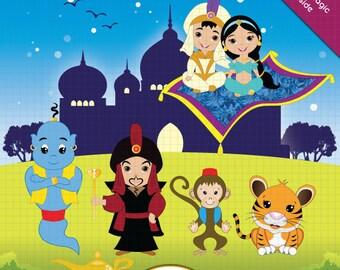 Aladdin Clipart, Jasmine Clipart, Princess Jasmine Clipart, Princess Clipart, Fairytale Clipart, Princess Jasmine, Fairy tale Clipart