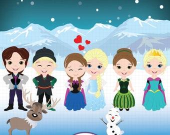 Frozen Clipart, Frozen fever, Frozen party,Snow Queen clipart, Princess Elsa, Anna,Fairytale clipart