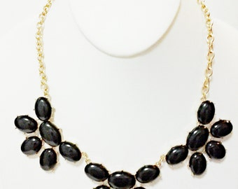 Black Gold Chain Necklace / Bib Necklace / Statement Necklace.