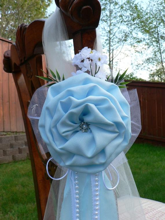 Light Blue Pew Bows Chair Bows Elegant Wedding Bows Church
