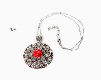 Free shipping Select one Pendant with resin flower Floral Jewelry Roses Red Flower pendan Gift for her
