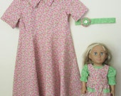 Pink Floral Seersucker Girls Modest Cotton Summer Dress with Matching Doll Dress and Headband