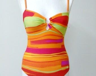 CLEARANCE One piece Swimsuit multicolor print Orange swimsuit US 8