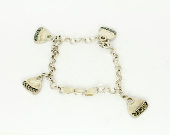 Purse Charm Bracelet in Silver with Marcasite Gemstones on Purses and Sterling Silver Chain