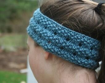 Teal Blue Handknit Ear Warmer/Headband