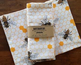 Honey Bee Tea Towels, Set of 2