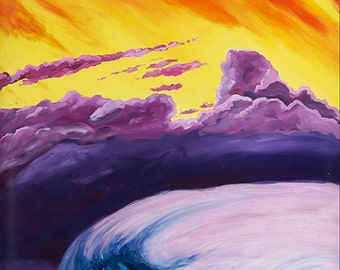 Moody Pacific- Sunset Wave Painting, giclee print on art paper