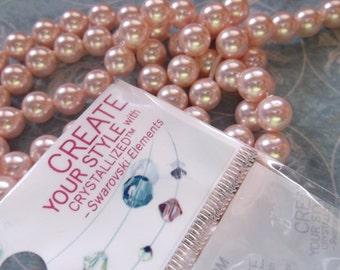 6mm Swarovski Rosaline pearls 20 pearls Swarovski pink pearls