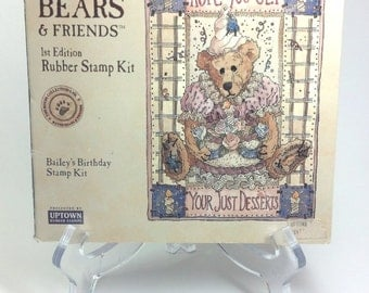 Boyds Bears 1st Ed Bailey's Bday Rubber Stamp Set