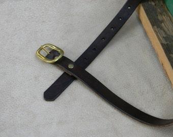 Womens Leather Belt Narrow & Skinny Leather Belt High Waist Belt Rustic Brown Leather Belt Womens Brown Leather Belt with Solid Brass Buckle