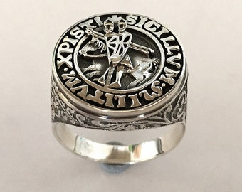 Knights Templar Ring Silver 925 Masonic / Tempelritter Freimaurer ring / ALL Size !