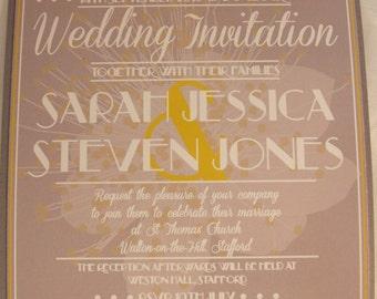 Grey Pocket Fold Wedding Invitation with inserts. Yellow Ribbon and Flower Illustrations