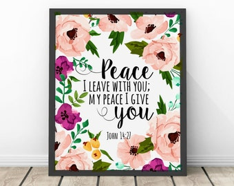 Peace I Leave With You John 14 27 Bible Verse | Digital Print Instant Art INSTANT DOWNLOAD