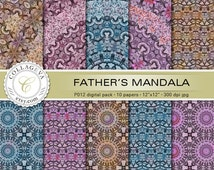 """Father's Mandala, Digital Paper Pack, 10 printable sheets, 12""""x12"""" INSTANT DOWNLOAD, pale purple blue brown large kaleidoscope pattern (P012"""