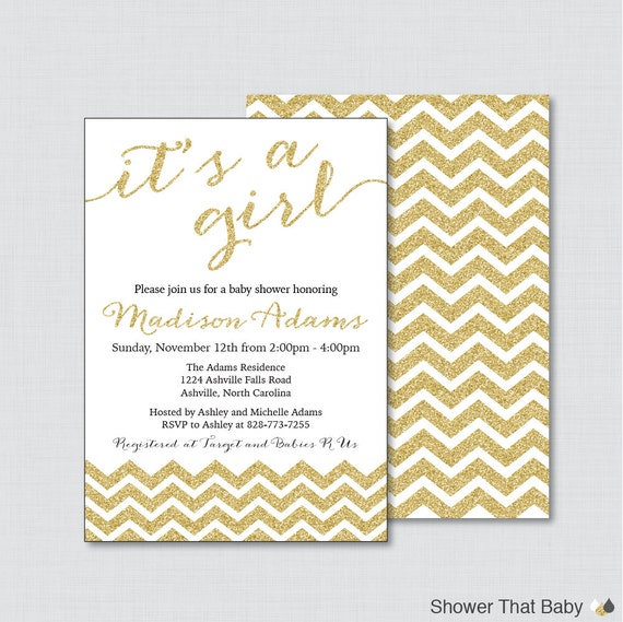 printable or printed glitter baby shower invitations in gold glitter