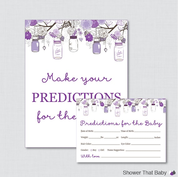 Guess The Birth Date Baby Shower Game: Mason Jar Baby Shower Prediction Cards Instant Download