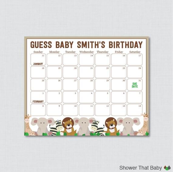 Shower Birthday Predictions - Printable Baby Shower Due Date Calendar ...