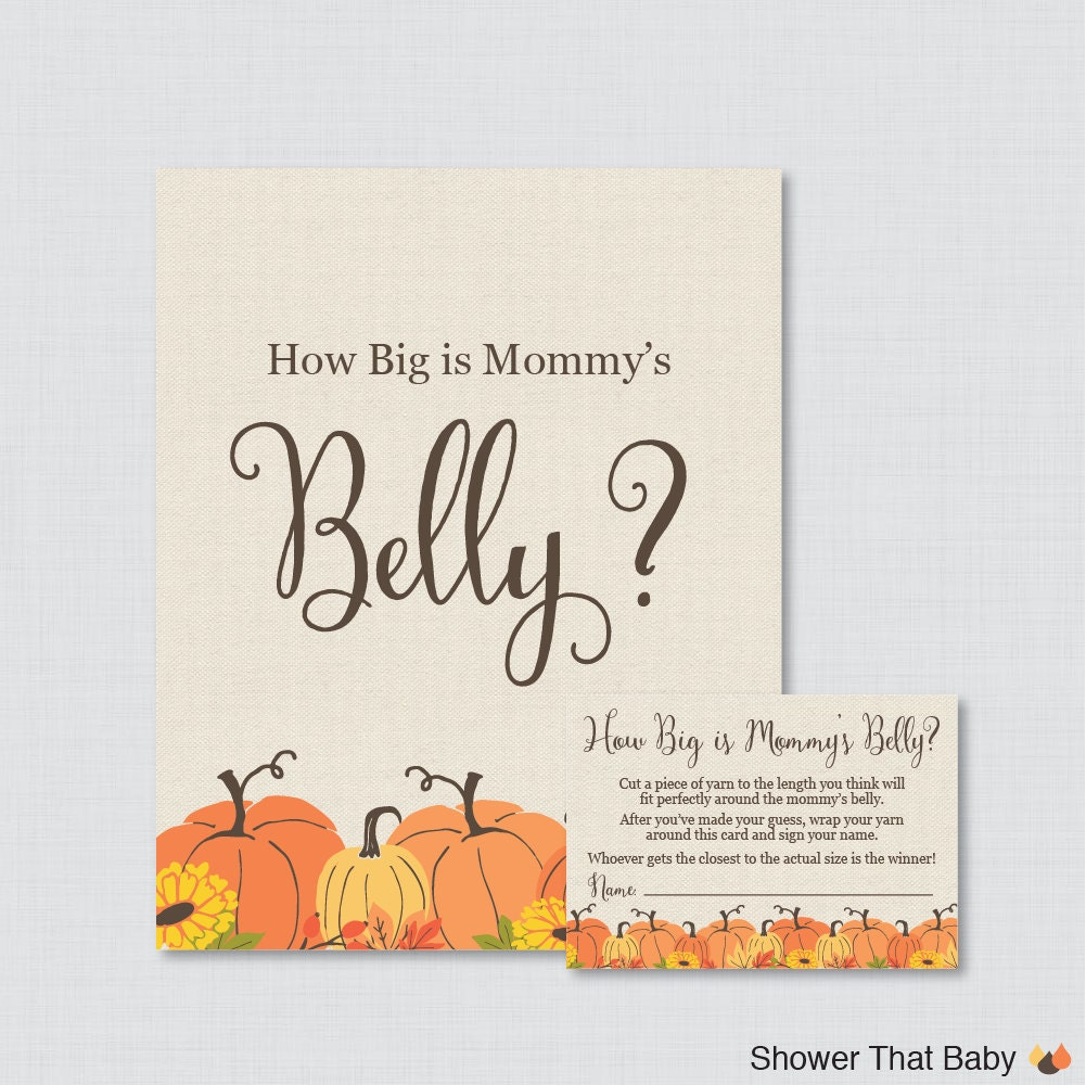 Pumpkin Baby Shower How Big Is Mommy's Belly Game