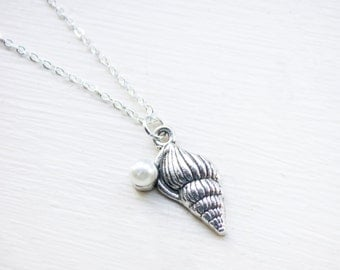 Pearl Shell Necklace - Nautical Silver Ocean Beach Pearl Necklace Charm Pendant