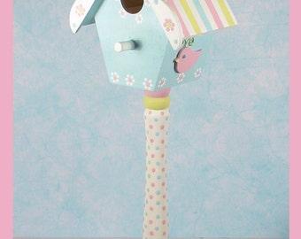"Custom Pedestal Birdhouse - Little Birdie Birdhouse - ""Perched On a Pedestal"""