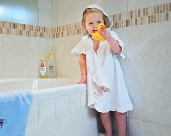 Personalised hooded towelling baby bath robe.