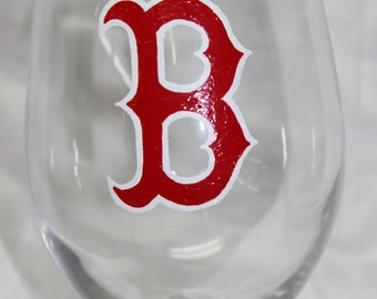 Hand Painted Boston Red Sox Wine Glass
