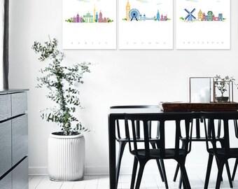 Set of 3 City Printable Poster,BERLIN,LONDON,AMSTERDAM,Illustration Graphic Design Print Travel Home Decor Wall Art Digital Instant Download
