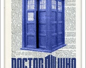 Dr Who Art, Dictionary Art, Print, Poster, Upcycled, Tardis, Time Machine, Gift, Wall Art, Father's Day