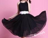 Chiffon Black Knee Skirt Party Dress Evening Wedding Lightweight Sundress Maternity Dress Summer Beach Dress Bridesmaid Dress Skirt J012