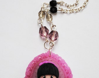Polymer clay necklacewith sweet girl