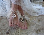 Hemp Barefoot Sandals, Bohemian Wedding Footwear, Feather Accents, Mother of Pearl Peace sign, Freshwater Pearls