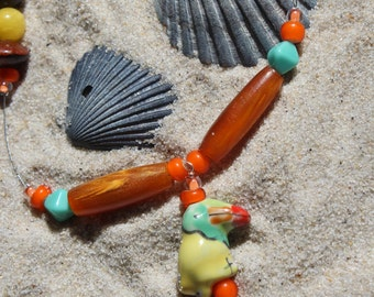 Tropical Toucan Beaded Illusion Necklace