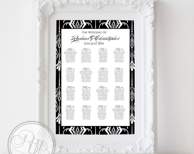 "Art Deco Wedding Seating Chart - Black & White Art Deco Frame Digital Files DIY Printable - ""Clare"""