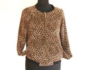 Short jacket / jacket in brown animal print / animal print jacket / boho jacket / jacket hipster