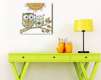 Orange Green Owls Drawing Wall Decor PRINT, Owls in Love Poster, Living Room Decor, Baby Room Decor, I love you Art