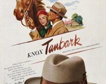 1951 Knox Tanbark Hat - Tawny Hat color - Horse Illustration Art - Retro Knox Hats Ad - 1950s Men's Accessories