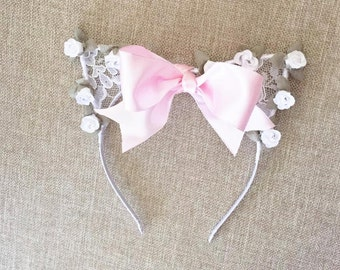 The Marie Ears - Marie from the Aristocats Floral and Lace Kitty Cat Headband