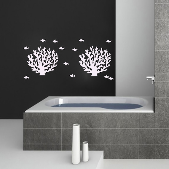 Fish wall stickers decal vinyl corals decals bathroom by for Bathroom fish decor