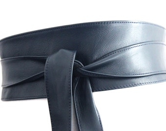 Navy Blue Leather Obi Belt | Waist Corset Belt | Leather tie belt | Real Leather Belt| Handmade Belt