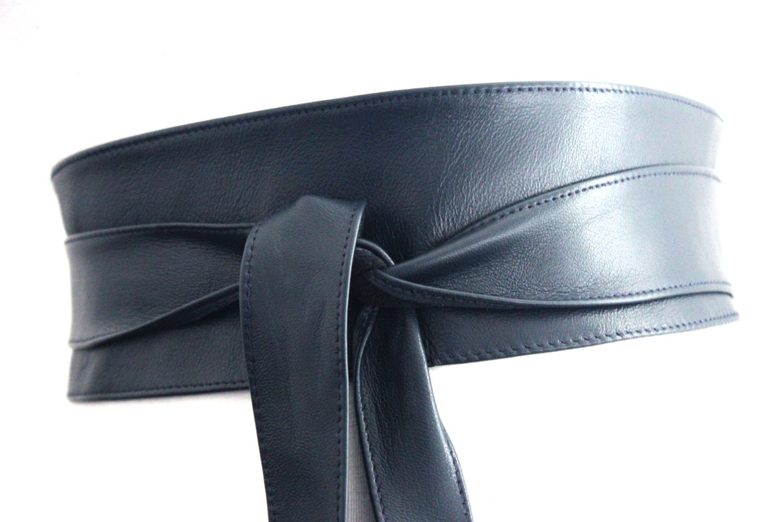 navy blue leather obi belt waist corset belt leather tie